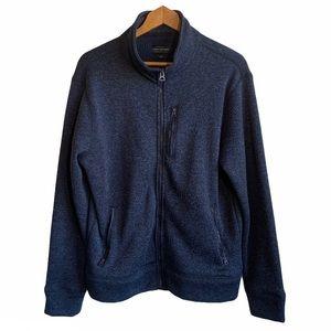 Lucky Brand Full Zip Fleece Mockneck Jacket Navy M